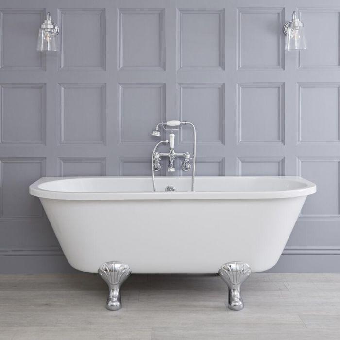 freistehende vorwand badewanne zum anlehnen an die wand auf f en. Black Bedroom Furniture Sets. Home Design Ideas