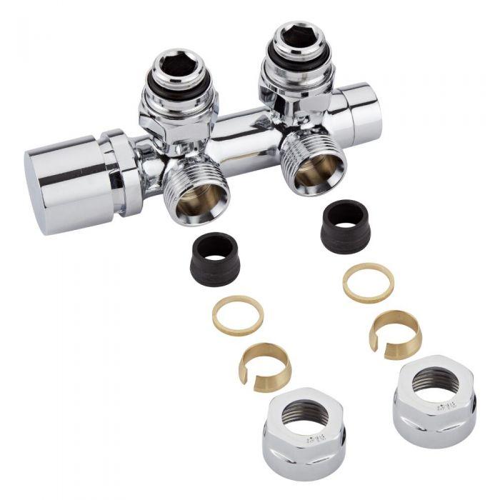 Hahnblock Heizkörperwinkelventil Manuell Chrom inkl. Multiadapter für 16mm Kupferrohre im Set