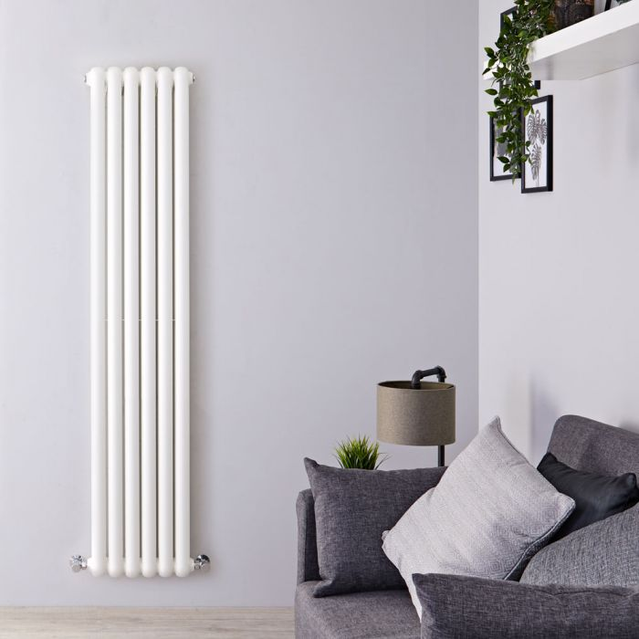 Gliederheizkörper Vertikal 2 Säulen Nostalgie Weiß 1500mm x 383mm 1258W - Salvia