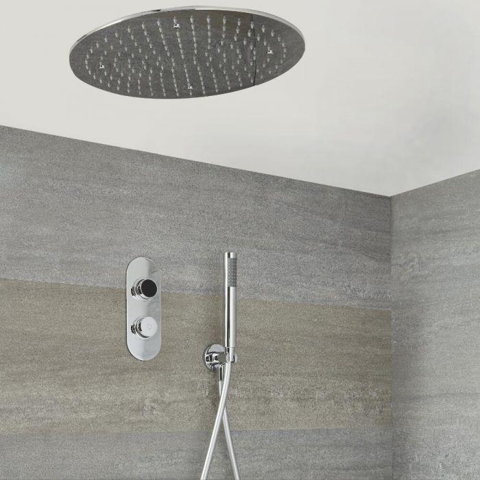 Digitale Dusche für zwei Funktionen, inkl. rundem Unterputzduschkopf & Brause - Narus