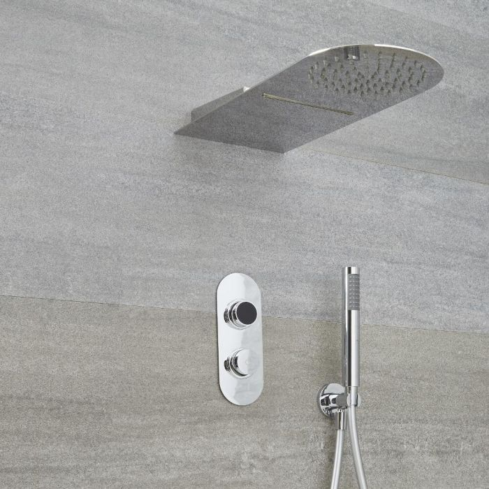 Digitale Dusche für zwei Funktionen, inkl. Duschkopf mit Wasserschwallausguss - Narus