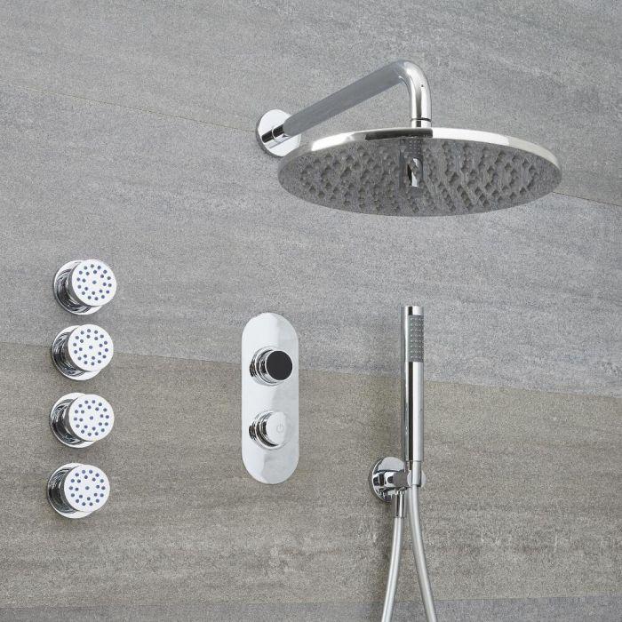 Digitale 3-Wege Dusche, inkl. rundem Duschkopf zur Wandmontage, Körperdüsen & Brause - Narus