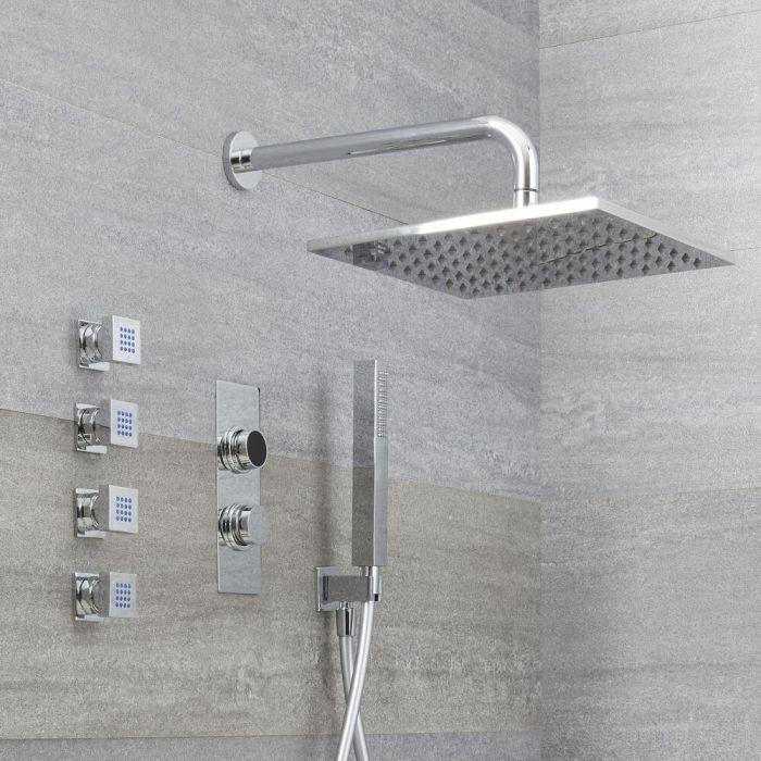 Digitale Dusche für drei Funktionen, inkl. quadratischem Duschkopf zur Wandmontage und Körperdüsen - Narus