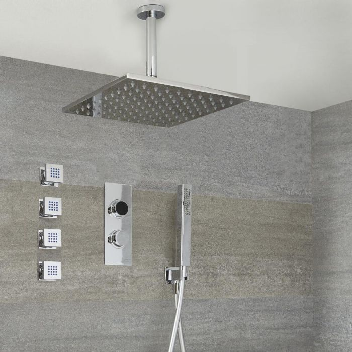 Digitale 3-Wege Dusche inkl. quadratischem Duschkopf zur Deckenmontage, Körperdüsen & Brause - Narus