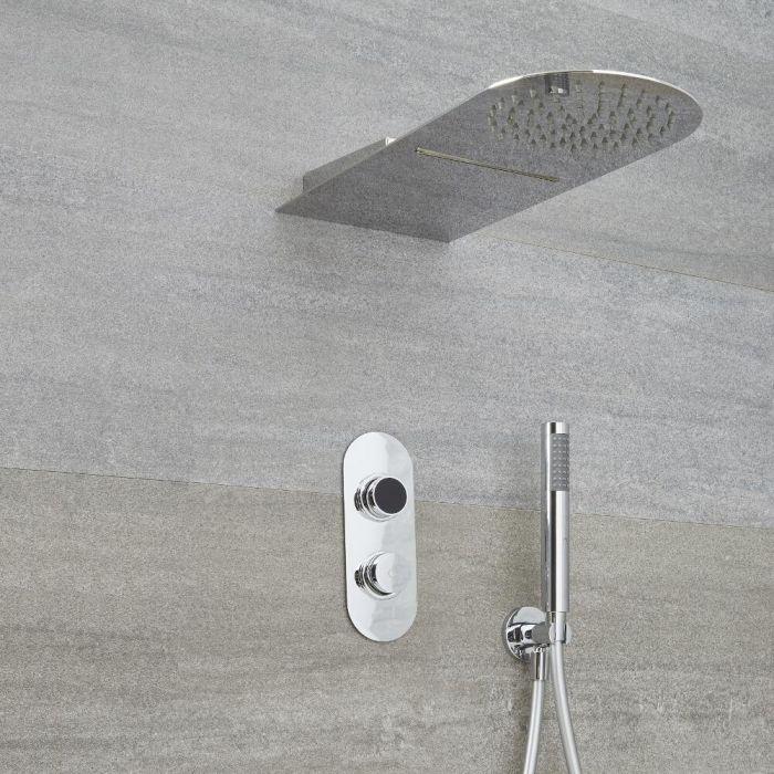 Digitale Dusche für drei Funktionen, inkl. Duschkopf mit Wasserfallausguss und Körperdüsen - Narus
