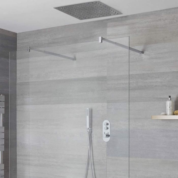 Duscharmatur mit Drucktasten 2 Funktionen, inkl. Handbrause und 500mm Unterputzduschkopf Quadratisch - Idro