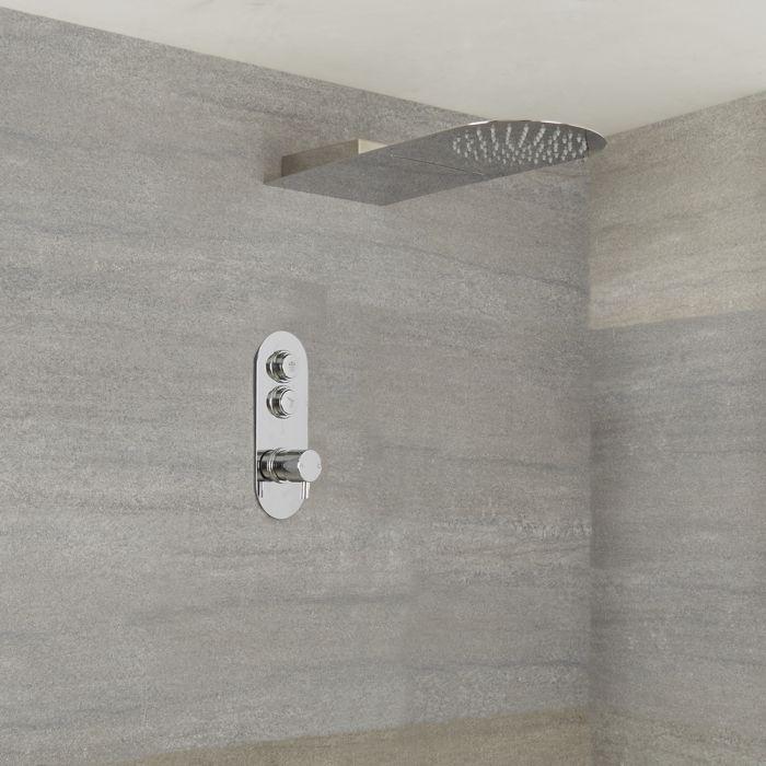 Duscharmatur mit Drucktasten 2 Funktionen, inkl. Wasserblade-Duschkopf - Idro
