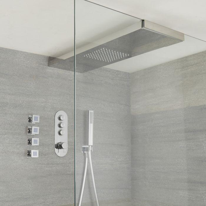 Duscharmatur mit Drucktasten 3 Funktionen, inkl. Handbrause, Glas greifender Duschkopf Rund und Körperdüsen - Idro