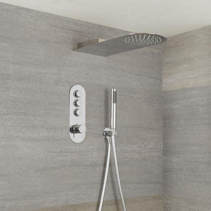 Duscharmatur mit Drucktasten 3 Funktionen, inkl. Handbrause und Wasserblade Duschkopf - Idro