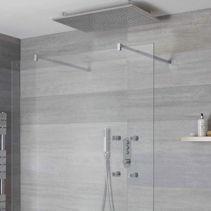 Duscharmatur mit Drucktasten 3 Funktionen, inkl. Handbrause, Unterputzduschkopf und Körperdüsen - Idro