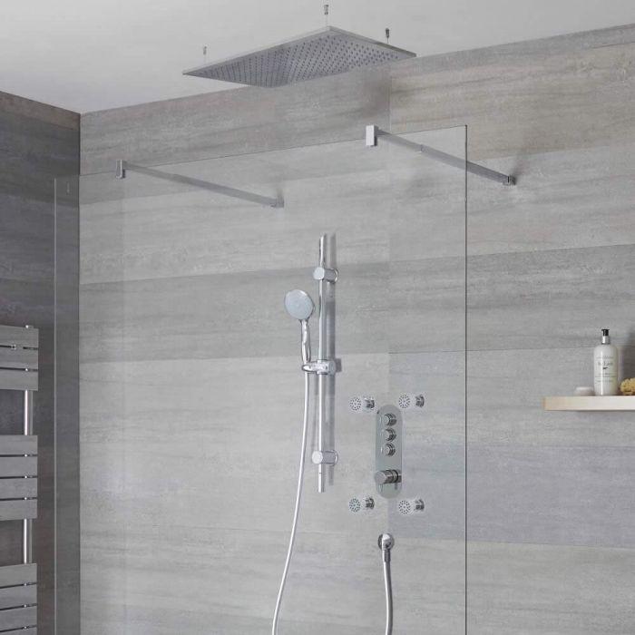 Duscharmatur mit Drucktasten 3 Funktionen, inkl. Duschstange, Unterputzduschkopf und Körperdüsen - Idro