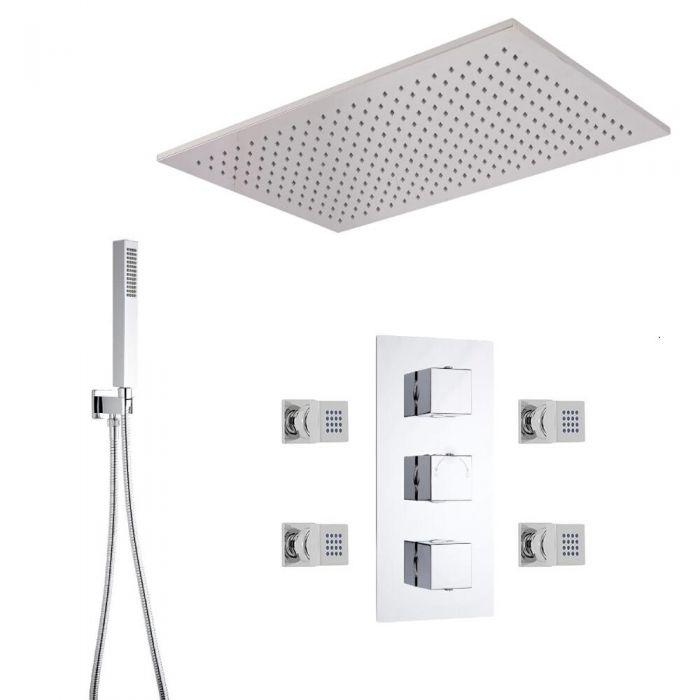 Triple Unterputzarmatur mit Funktionswechsler Eckig inkl. 500mm x 800mm Duschkopf, quadratischer 230mm Handbrause & 4 Seitenbrausen - Arvo