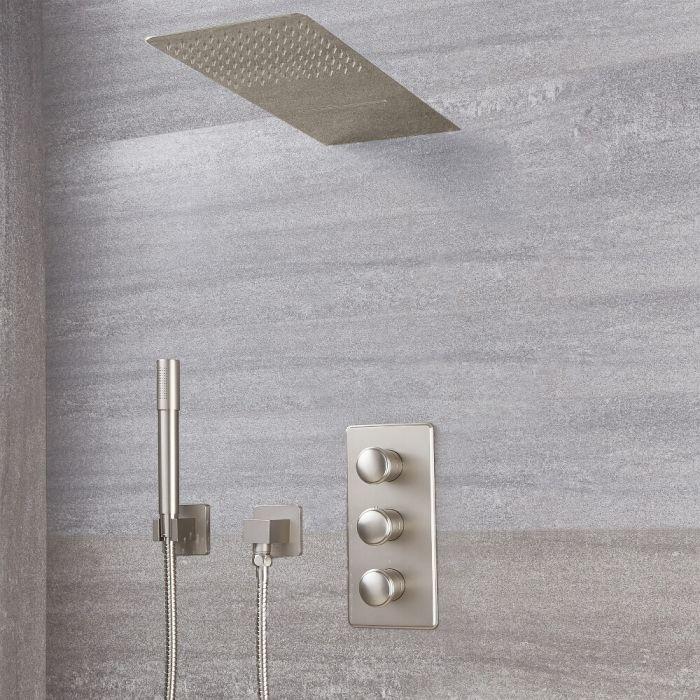Aldwick Thermostatarmatur mit Wasserfall-Regen-Duschkopf und runder Handbrause - Gebürstetes Nickel