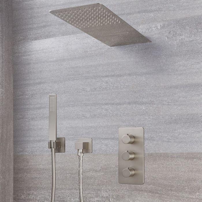 Harting Thermostatarmatur, Wasserfall-Regen-Duschkopf und eckige Handbrause - Gebürstetes Nickel