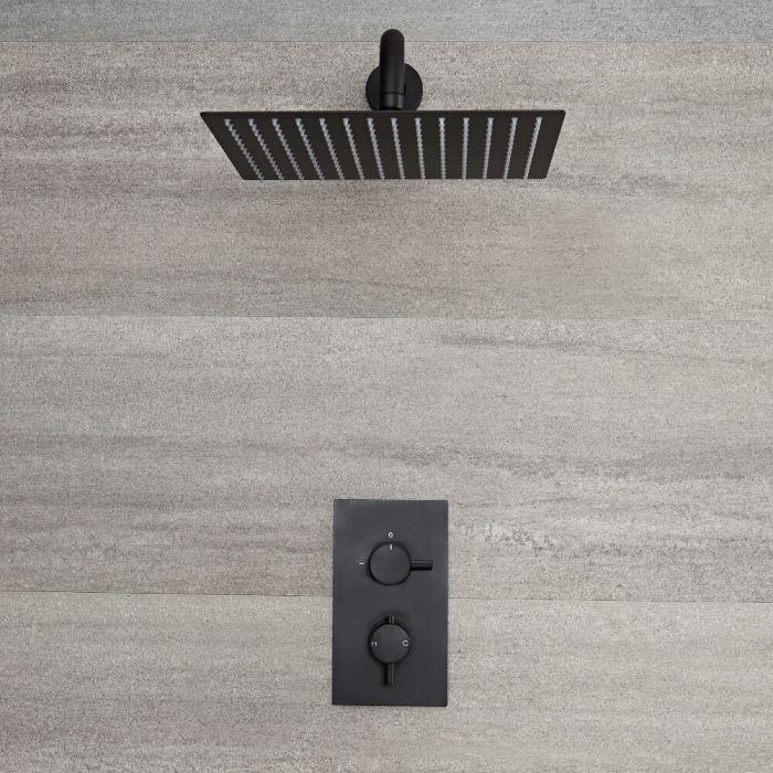 Nox - Schwarzes Duschventil mit 300x300mm Duschkopf und Arm