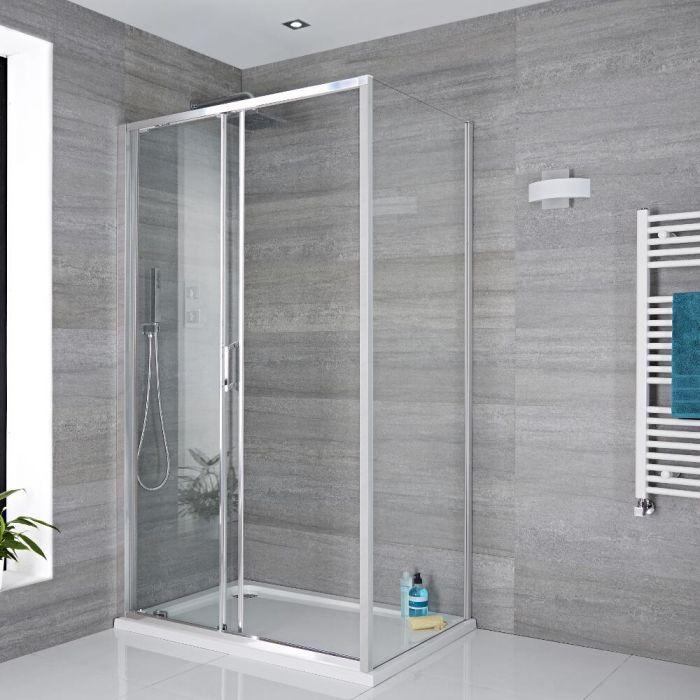 Duschkabine Eckdusche 1000mm x 800mm inkl. Duschtasse und Schiebetür - Portland