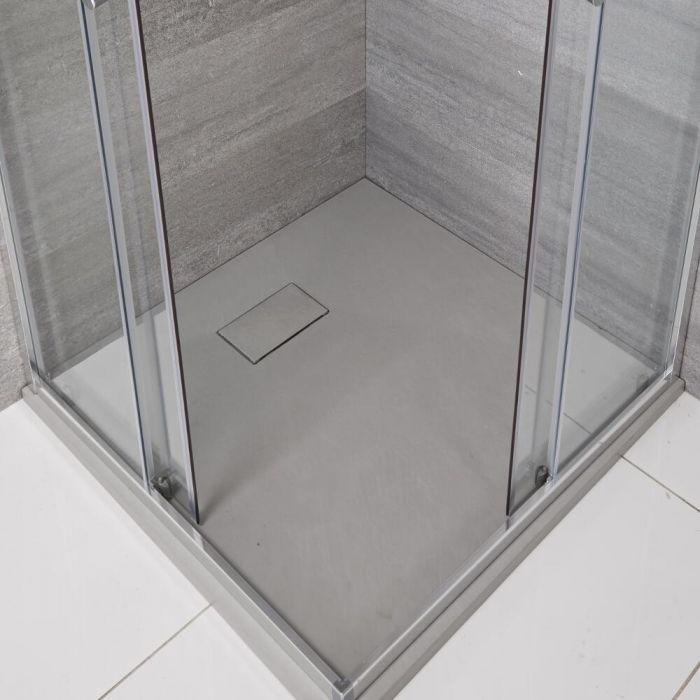 Hudson Reed hellgrau Stein-Optik quadratische Duschwanne 800mm