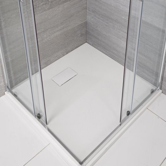 Hudson Reed matt-weiß Stein-Optik quadratische Duschwanne 800mm