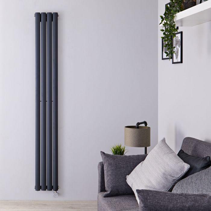 Design Heizkörper Elektrisch Vertikal Einlagig Anthrazit 1780mm x 236mm inkl. ein 800W Heizelement - Revive