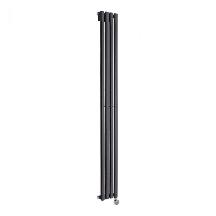 Design Heizkörper Elektrisch Vertikal Einlagig Schwarz 1780mm x 236mm inkl. ein 800W Heizelement - Revive