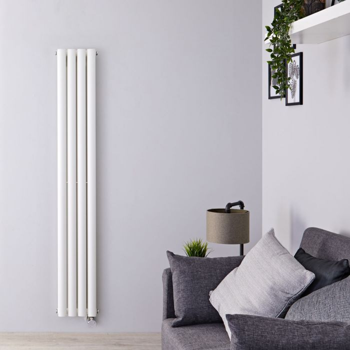 Design Heizkörper Elektrisch Vertikal Doppellagig Weiß 1780mm x 236mm inkl. 1x 1200W Heizelemente - Revive