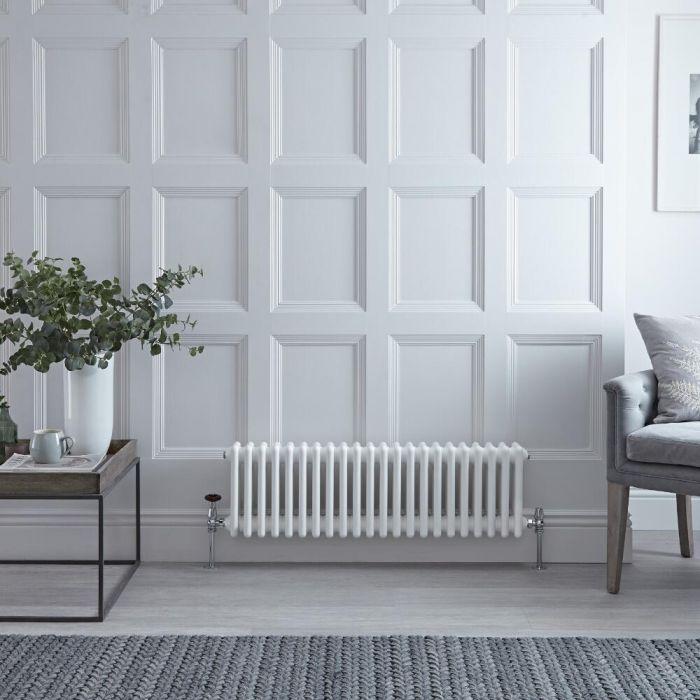 Gliederheizkörper Horizontal 3 Säulen Nostalgie Weiß 300mm x 1013mm 889W - Regent