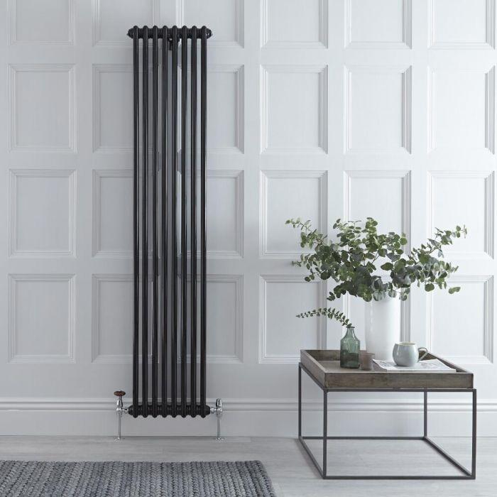 Gliederheizkörper Vertikal 2 Säulen Nostalgie Schwarz 1800mm x 383mm 1245W - Regent