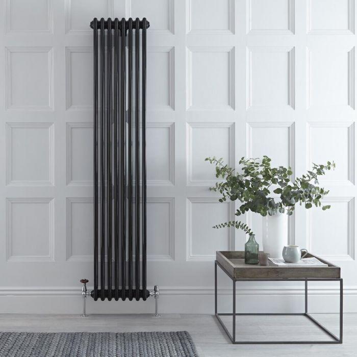 Gliederheizkörper Vertikal 3 Säulen Nostalgie Schwarz 1800mm x 383mm 1558W - Regent