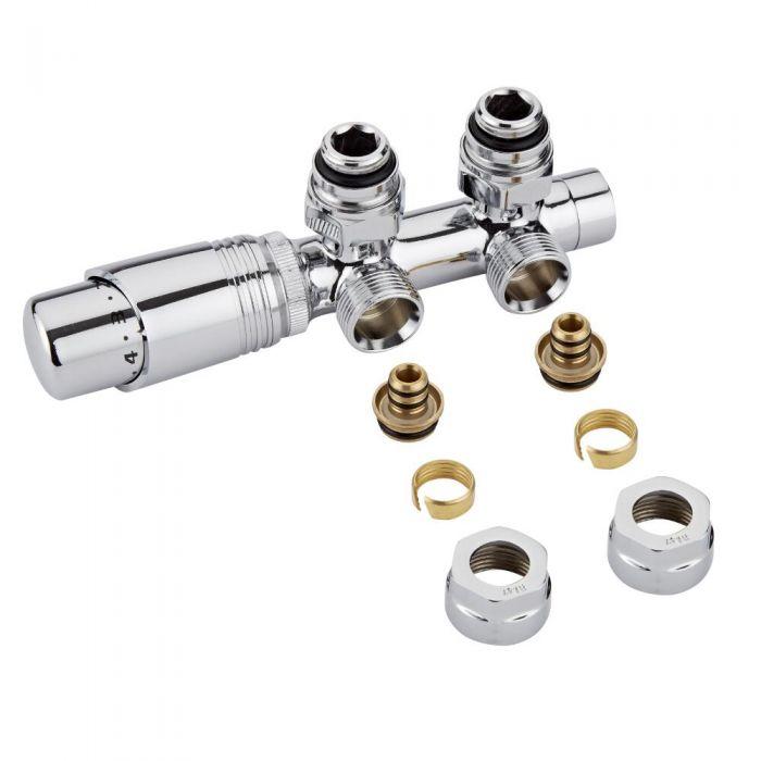 Hahnblock Heizkörperwinkelventil Manuell & thermostatisch Chrom/Weiß inkl. Multiadapter für 16mm Multiverbundrohre im Set
