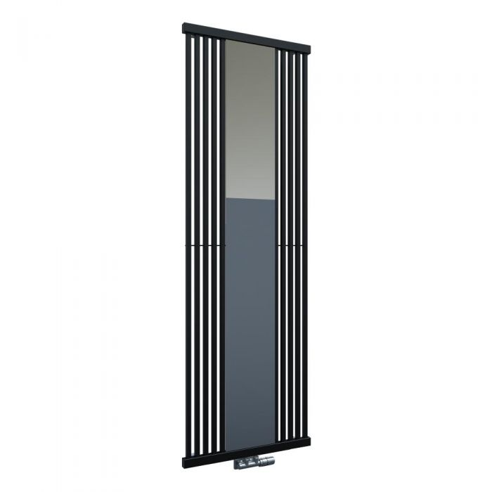Design Heizkörper mit Spiegel Vertikal Einlagig Schwarz 1900mm x 640mm - Lublin