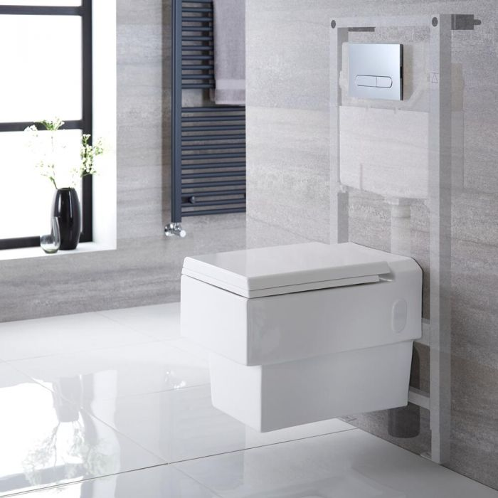 Hänge WC Quadratisch mit Unterputzspülkasten & wählbarer Betätigungsplatte - Haldon