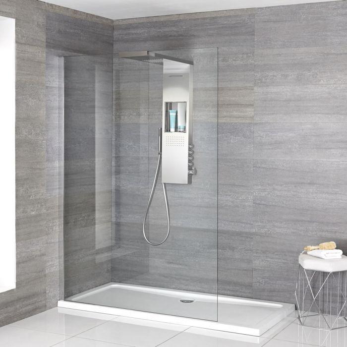 Hudson Reed Iko - Komplette Walk-In Dusche mit Slim Line Duschwanne & glashaltendem Duschpaneel