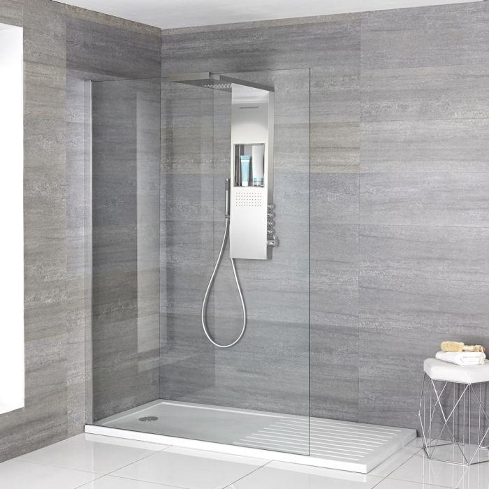Iko - Komplette Walk in Dusche mit Trockenbereich-Duschwanne & glashaltendem Duschpaneel