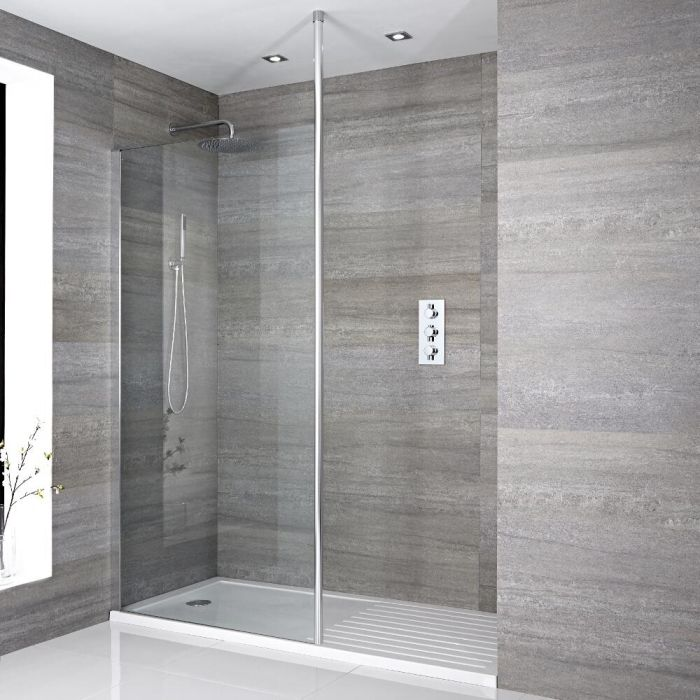 Walk-In Duschwand 1000mm inkl. 1600mm x 800mm Duschtasse mit Trocknungsbereich & Duschwandhaltestange - Sera
