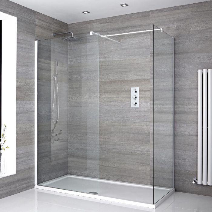 2 Walk-In Duschwände 800mm/ 1000mm inkl. 1700mm x 800mm Duschtasse & weißes Profil - Lux