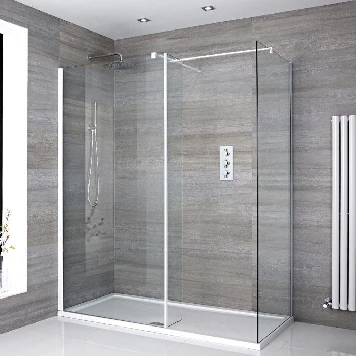 2 Walk-In Duschwände 800mm/ 1000mm inkl. 1600mm x 800mm Duschtasse, Seitenteil & weißes Profil- Lux