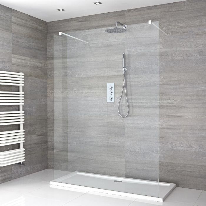 Walk-In Duschwand 1400mm mit 2 weißen Haltearmen inkl. 1400mm x 800mm Duschtasse - Lux