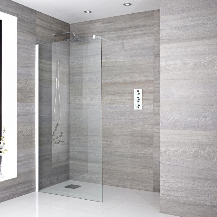 Walk-In Duschwand 1200mm inkl. weißes Profil & wählbarer Duschrinne - Lux