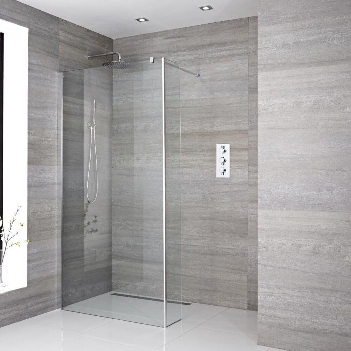 Walk-In Duschwand 1950mm x 1400mm mit Seitenteil & wählbarer Duschrinne - Portland