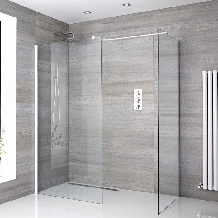 2 Walk-In Duschwände 800mm/ 1200mm inkl. weißes Profil & wählbare Duschrinne - Lux
