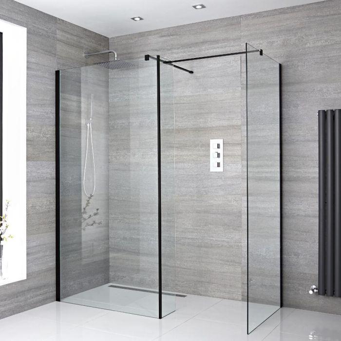 2 Walk-In Duschwände 800mm/ 900mm inkl. Seitenteil, schwarzes Profil & wählbare Duschrinne - Nox