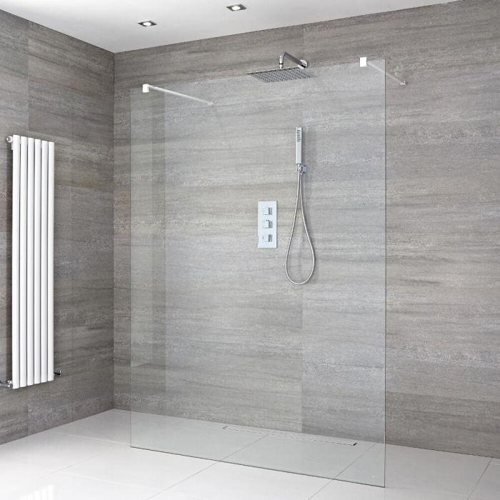 Walk-In Duschwand 1000mm mit 2 Haltearmen inkl. weißes Profil & wählbare Duschrinne - Lux