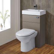 D-förmige Toilette mit Spülkasten und integriertem Waschbecken Steingrau