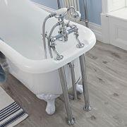 Ab-und Überlaufgarnitur, Siphon und einstellbare Standrohre für Badewannenarmaturen im Set