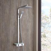 moderne Duschsäule Aluminium mit Ablage - Jetty