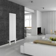 Design Heizkörper Vertikal Doppellagig mit Füßen Weiß 1800mm x 472mm 1638W - Revive Plus