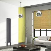 Design Heizkörper Vertikal Doppellagig mit Füßen Anthrazit 1800mm x 354mm 1228W - Revive Plus
