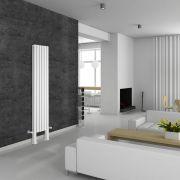 Design Heizkörper Vertikal Doppellagig mit Füßen Weiß 1800mm x 354mm 1228W - Revive Plus