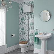 Klassische Toilette, hochhängender Spülkasten - wählbarer Sitz