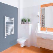 Elektrischer Handtuchheizkörper Weiß 750mm x 450mm inkl. ein 400W Heizelement - Etna